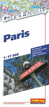 Paris City Flash Hallwag stadskarta : 1:17500