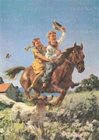 Boy & Girl Riding Horse - Birthday Greeting Card
