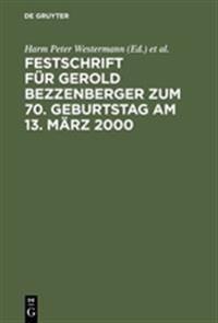 Festschrift Fur Gerold Bezzenberger Zum 70. Geburtstag Am 13. Marz 2000