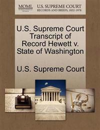 U.S. Supreme Court Transcript of Record Hewett V. State of Washington