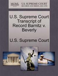 U.S. Supreme Court Transcript of Record Barnitz V. Beverly