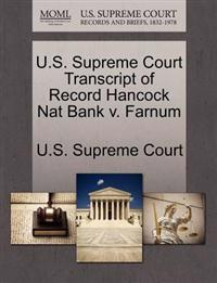 U.S. Supreme Court Transcript of Record Hancock Nat Bank V. Farnum