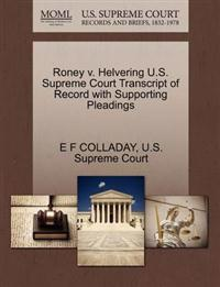 Roney V. Helvering U.S. Supreme Court Transcript of Record with Supporting Pleadings