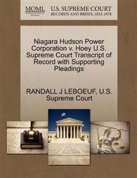 Niagara Hudson Power Corporation V. Hoey U.S. Supreme Court Transcript of Record with Supporting Pleadings