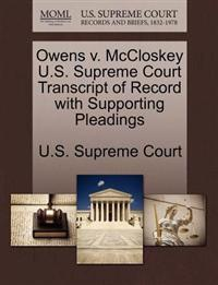 Owens V. McCloskey U.S. Supreme Court Transcript of Record with Supporting Pleadings